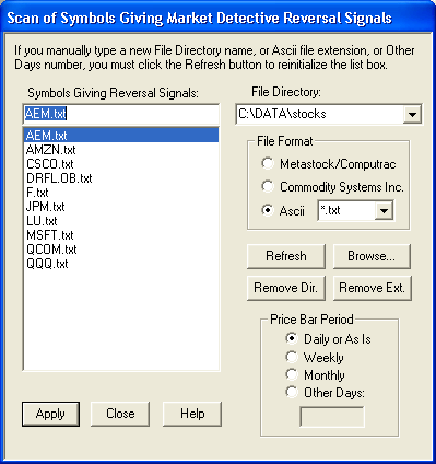 Scan of Reversal Signals Dialog Box